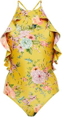 Zimmermann Ruffled Floral-print Halterneck Swimsuit