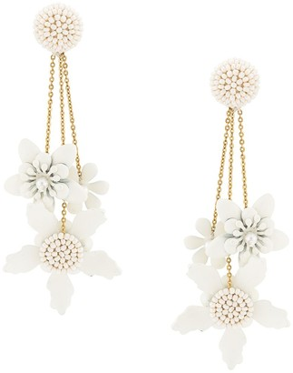 Oscar de la Renta Flower Drop Earrings