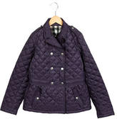 Burberry Girls' Double-Breasted Quilted Jacket