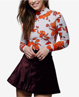 Free People Funkytown Flared Velvet Mini Skirt