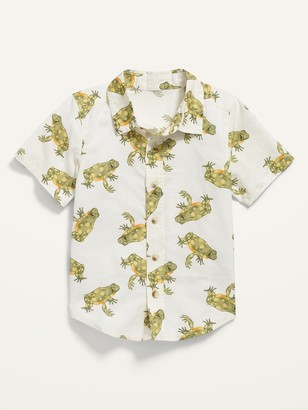 Old Navy Frog-Print Short-Sleeve Button-Front Shirt for Toddler Boys