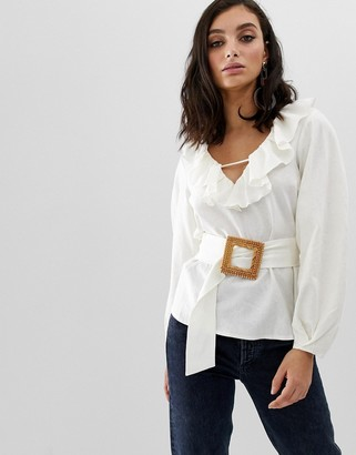 Asos DESIGN long sleeve ruffle v neck blouse with wicker buckle belt detail in linen