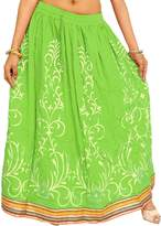Exotic India Printed Long Skirt with Embellished Patch - Color