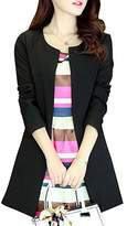 Donalworld Women Long Trench Coat Slim Long Cardigan Asian Size M