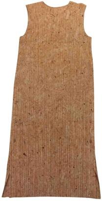 Pleats Please Camel Polyester Dresses