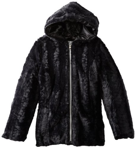 Amy Byer Big Girls' Texture Faux Fur Hooded Jacket