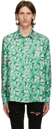Amiri Green and Pink Silk Banana Leaves Pyjama Shirt