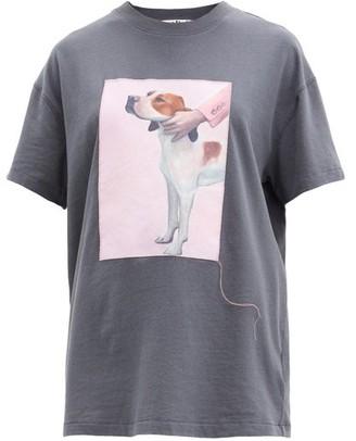 Acne Studios Painted Dog-print Cotton T-shirt - Dark Grey