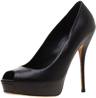 Gucci Black Leather Peep Toe Platform Pumps Size 39