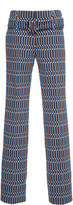 Prada Belted Printed Straight-Leg Pants