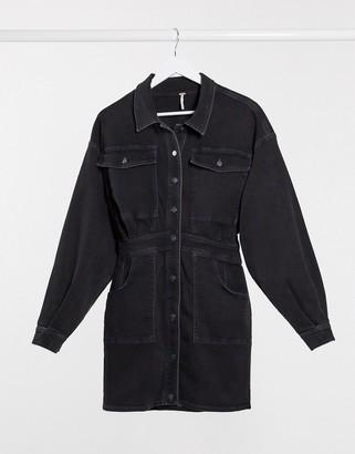 Free People denim shirt dress in black