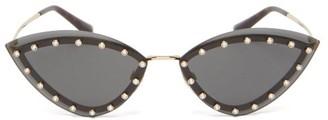 Valentino Crystal-embellished Cat-eye Metal Sunglasses - Womens - Black