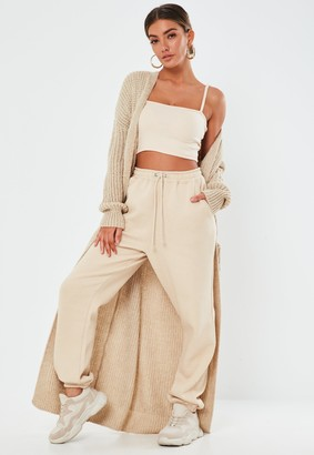 Missguided Stone Patch Pocket Knitted Maxi Cardigan