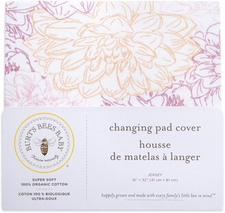 Burt's Bees Peach Floral Print Organic Cotton BEESNUG Fitted Changing Pad Cover