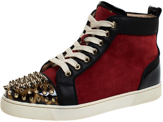 Christian Louboutin Black/Red Leather and Suede Louis Spike High Top Sneakers Size 37