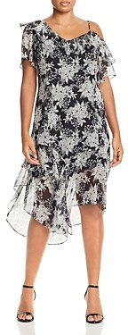Vince Camuto Plus Floral Asymmetric Cold-Shoulder Dress