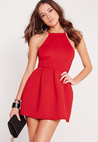 Missguided Square Neck Skater Dress Red