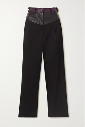 CHRISTOPHER ESBER Maverick Twill And Leather Straight-leg Pants - Black