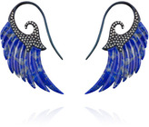 Lapis Noor Fares Exclusive Lazuli Wing Earrings with 18K Blue Rhodium Gold Set with Diamonds