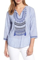 Velvet by Graham & Spencer Women's Embroidered Tassel Tie Blouse
