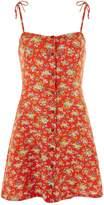 Topshop Button Through Strap Mini Slip Dress