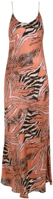 Monika The Label Camille Animal Print Maxi Slip Dress