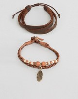 Asos Leather Bracelet Pack In Tan With Feather Charm