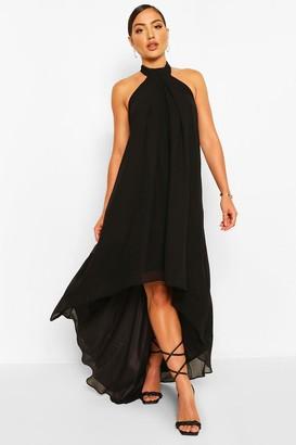 boohoo Halter Neck High Low Maxi Dress