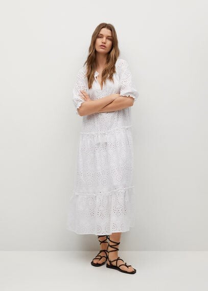 Thumbnail for your product : MANGO Broderie anglaise cotton dress