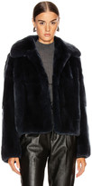 Yves Salomon Rex Rabbit Jacket in Minuit   FWRD