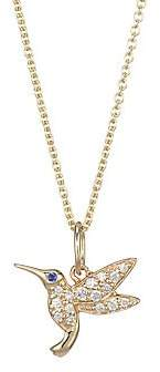 Sydney Evan Women's 14K Yellow Gold, Diamond & Sapphire Hummingbird Necklace