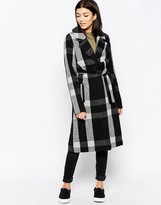 Ichi Belted Checked Coat