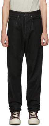 Rick Owens Black Wax Collapse Long Jeans