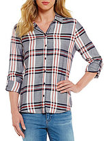Westbound Petites Roll Sleeve Twin Print Shirt