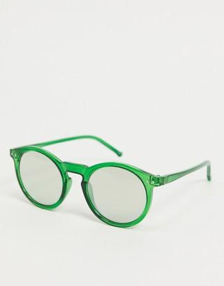 ASOS DESIGN round plastic sunglasses in green