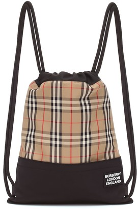 Burberry Check drawstring backpack