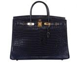 Hermes pristine (PR 40cm Blue Indigo Matte Crocodile Porosus Birkin Bag with Gold Hardware