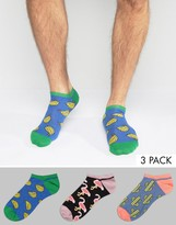 Asos Trainer Socks With Design 3 Pack