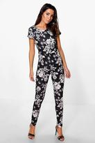Boohoo Louise All Over Floral Print Capped Sleeve Jumpsuit