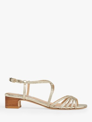 LK Bennett Newport Embroidered Strap Low Block Heel Sandals, Soft Gold