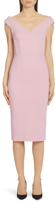Dolce & Gabbana V-Neck Sleeveless Crepe Sheath Dress