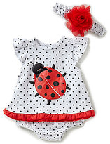 Starting Out Baby Girls Newborn-9 Months Polka Dot Ladybug Top, Ruffle Diaper Cover, & Headband Set