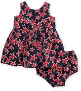 Armani Junior Sleeveless Pleated Poplin Starfish Dress, Multicolor, Size 6-24 Months