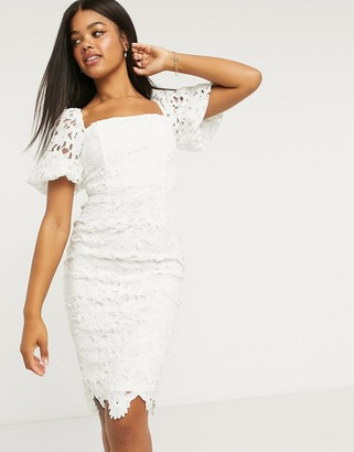 Lipsy square-neck puff-sleeved pencil dress in white