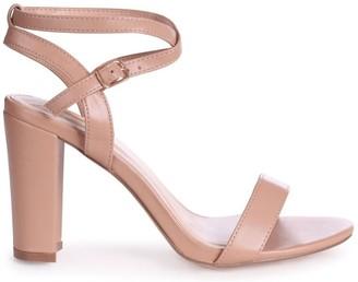 Linzi TRUE LOVE - Mocha Nappa Block Heeled Sandal With Crossover Ankle Strap