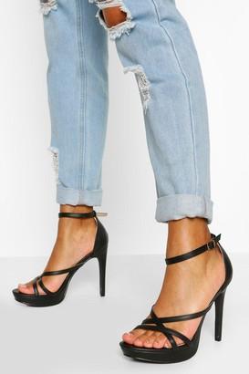 boohoo Strappy Stiletto Platform Heels