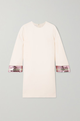 Valentino Sequin-embellished Wool And Silk-blend Crepe Mini Dress - Ivory
