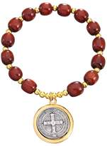 Catholica Shop Wooden Beads St Benedict Stretch Bracelet with Two Tones Color Medal