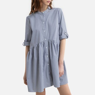 Only Cotton Mix Shirt Dress in Striped Print with Mandarin Collar and 3/4 Length Sleeves