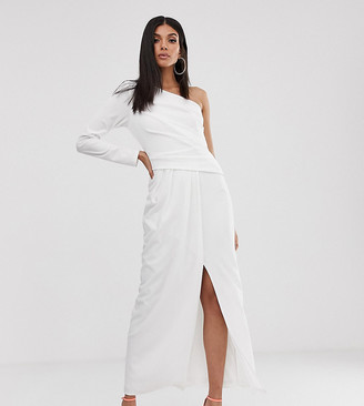 TFNC Tall Tall one shoulder scuba maxi with thigh split in white